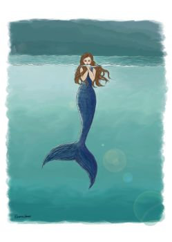 5x7MermaidInOceanColorSigned by SeachelleArt