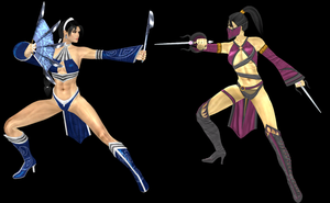 Kitana vs Mileena (secondary outfits) by artemismoonguardian