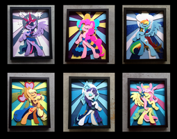 Stained Glass Mane 6 Shadowbox by The-Paper-Pony