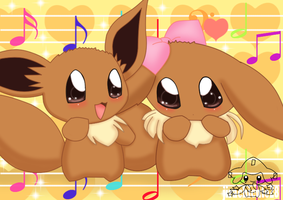 eevee and lu (Yumi Tsukirino style) by jirachicute28