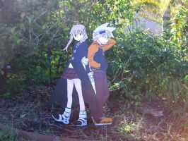 Soul and Maka from Soul Eater (painting on wood) by Minatek616
