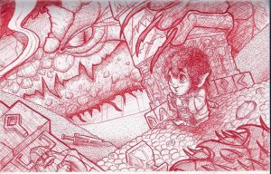Smaug and Bilbo(bic) by josesami