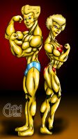 Bart and Lisa Bodybuilders Full Shading by AlphaCentaurian
