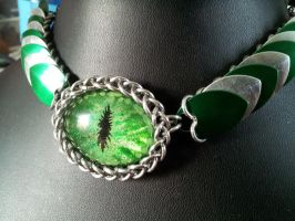 Scale Choker in Green with Silver by BacktoEarthCreations