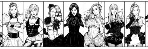 SNSD Paparazzi Wallpaper Lineart Final by Dre0083