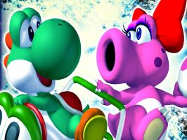 Yoshi and Birdo Wallpaper by NoNamepje