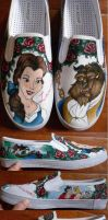 Beauty and the Beast Custom Shoes by madeleinedemontreal