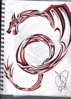 Red and Black Tribal Dragon by shadowfox94