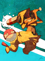 Scrafty playing baseball