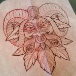 Green Man Face Tattoo Design by iluv2rock99
