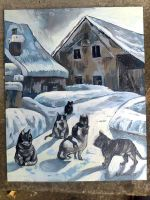 Cats in a winter village by Calucifer13