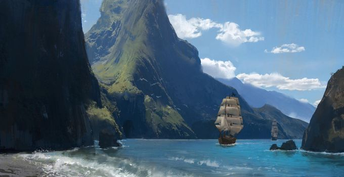 Tall ships and mountains by Jad-Saber