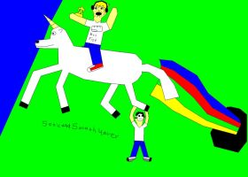 PewDiePie w/ Cryaotic on a Unicorn (Stephano too) by SonicandSmosh4ever