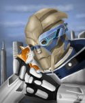 Garrus Vakarian and kitten by OrionGalahad