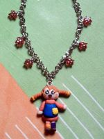 Necklace with Pippi Calzelunghe and pearls fimo by bimbalove81