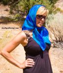 Nicole wearing a beautiful scarf by knottysilkscarf