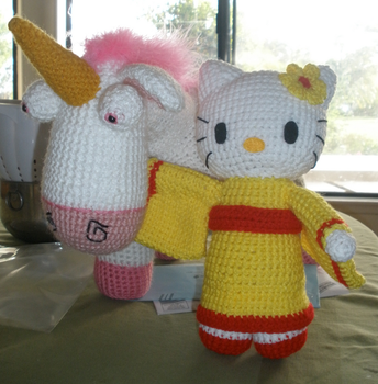 Hello Kitty and Despicable Me Unicorn by aphid777