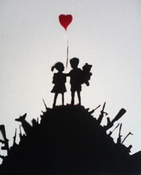 tribute to banksy kids and gun by Igotthegoodness