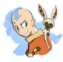 Aang and Momo, chilling out by EmptyWaterBucket76