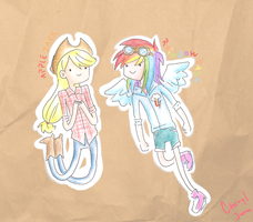 applejack and rainbow dash AT style! by cheryl-jum