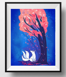 fox and the cherry tree print by michellescribbles