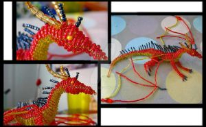 Beaded red dragon by Niicchan