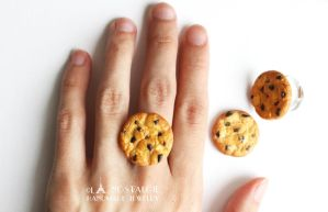 Chocolate Chip Cookie Ring Handmade Jewelry by LaNostalgie05