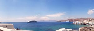 Mykonos Greece Panoramic by bladeiai