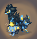 Electric Family - Shinx, Luxio, Luxray by Kyuwa-kun