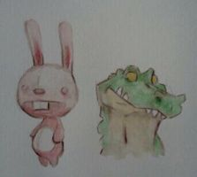 Gator and Bunny by legumebean