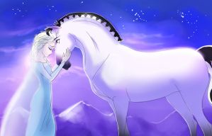 Elsa with a horse by SoihtuSS