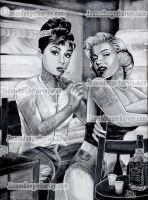 A and M Audrey Hepburn tattooing Marilyn Monroe by jamesdangerharvey