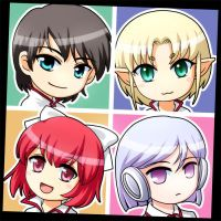 Four chibi heads by ocarina-CD