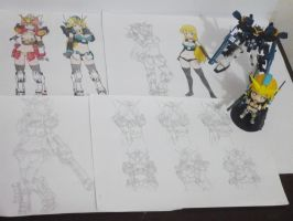 Gundam Heavyarms EW drawings and figures by bryanz09