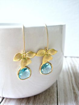 Gold Leaf Aquamarine Glass Drop Earrings by SparkleMeHappy