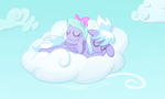 Cloudchaser and Flitter Sleeping by Hunnel