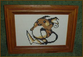 Cross-stitch Raichu by saanailija