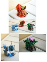 Fantasy elemental mini vases by Daelyth