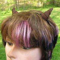 Small Brown Curved Faun Horns by merigreenleaf
