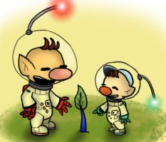 Olimar Teaches his Son by ArenWolfDemon