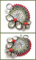 coral and peridot pendant by annie-jewelry