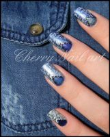 Nail art stamping jean's by cherrynailart