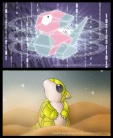 Sandshrew and Porygon by endless-whispers