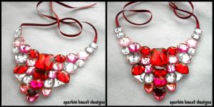 Red and Pink Gem Bib Necklace by Natalie526