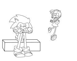 Sonic: Thinking Lineart by Beccawolf16