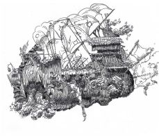 Flying Ship Linework by AncientSources