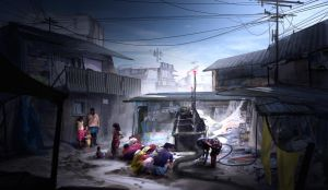 Slums environment_Energy Generator (Closer Shot) by keshanlam