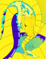 Yellow and Blue Dragon by TaMarchingTomahawk