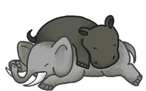 Hippo + Elephant Snuggles! :D by smokecloud2743