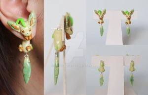 Leafeon Eeveelution Earrings by ArtzieRush